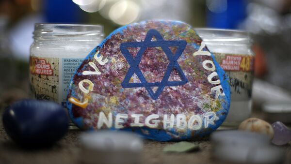 This Wednesday, Oct. 31, 2018, file photo, shows a painted rock found as part of a makeshift memorial outside the Tree of Life Synagogue in the Squirrel Hill neighborhood of Pittsburgh, in honor of the people killed during worship services several days earlier - Sputnik International