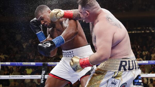 Andy Ruiz, right, punches Anthony Joshua during the seventh round of a heavyweight championship boxing match Saturday, June 1, 2019, in New York. Ruiz won in the seventh round - Sputnik International