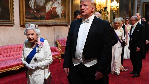 Britain's Queen Elizabeth and U.S. President Donald Trump arrive at the State Banquet at Buckingham Palace in London, Britain June 3, 2019 - Sputnik International