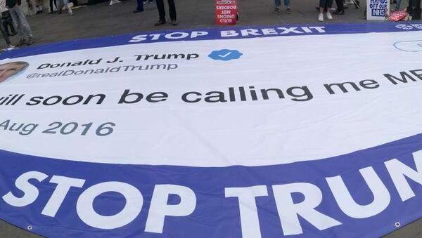 Demonstrators take part in an anti-Trump protest in London, Britain, June 4, 2019 - Sputnik International