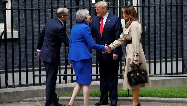 U.S. President Donald Trump and first lady Melania Trump meet Britain's Prime Minister Theresa May and her husband Philip at Downing Street, as part of Trump's state visit in London, Britain, June 4, 2019. - Sputnik International