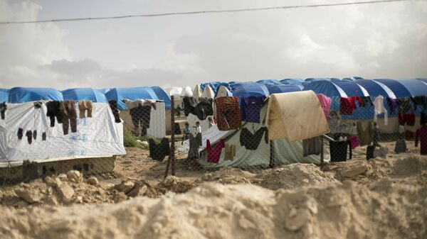 Laundry dries on a chain link fence in an area for foreign families, at Al-Hol camp in Hassakeh province, Syria. - Sputnik International