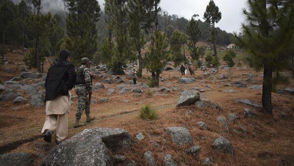 Pakistani reporters and troops visit the site of an Indian airstrike in Jaba, near Balakot, Pakistan, Tuesday, Feb. 26, 2019 - Sputnik International
