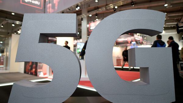 A logo of the upcoming mobile standard 5G is pictured at the Hanover trade fair, in Hanover - Sputnik International