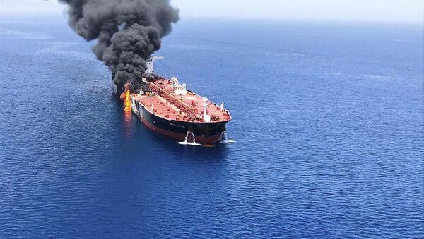An oil tanker is on fire in the sea of Oman, Thursday, June 13, 2019 - Sputnik International