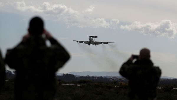 A NATO AWACS (Airborne Warning and Control Systems) aircraft approaches the Air Base number 5 - Sputnik International