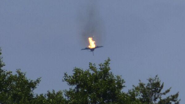 Burning Eurofighter Airplane Crashes Down - Sputnik International