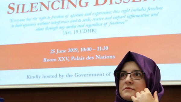 Hatice Cengiz, fiancee of the murdered Saudi journalist Khashoggi takes part in a UN side event in Geneva - Sputnik International