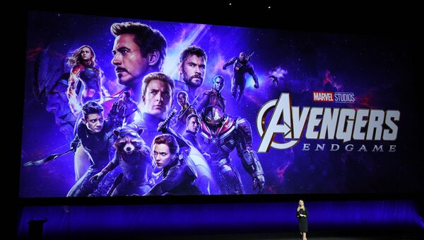 President of Walt Disney Distribution Franchise Management, Business & Audience Insights, Cathleen Taff, speaks in front of the new Avengers Movie Poster during the CinemaCon Walt Disney Studios Motion Pictures special presentation at the Colosseum Caesars Palace on April 3, 2019, in Las Vegas, Nevada - Sputnik International