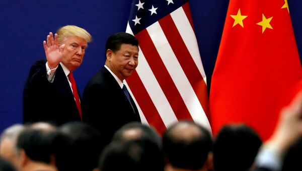 U.S. President Donald Trump and China's President Xi Jinping meet business leaders at the Great Hall of the People in Beijing, China, November 9, 2017 - Sputnik International
