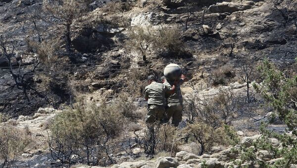 Military personnel carry debris on a slope where a missile struck, in Tashkent (also known as Vouno), in northern Cyprus, July 1, 2019 - Sputnik International