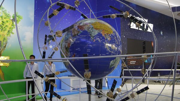 FILE - In this file photo taken Tuesday, Nov. 6, 2018, a model of Chinese BeiDou navigation satellite system is displayed during the 12th China International Aviation and Aerospace Exhibition, also known as Airshow China 2018, in Zhuhai city, south China's Guangdong province - Sputnik International