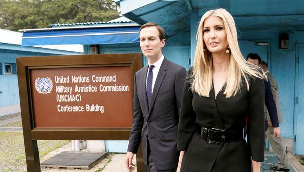 White House senior advisors Ivanka Trump and Jared Kushner walk at the demilitarized zone separating the two Koreas, in Panmunjom, South Korea, June 30, 2019 - Sputnik International