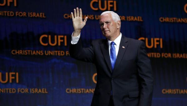 Vice President Mike Pence departs after speaking at the Christians United for Israel's annual summit, Monday, July 8, 2019, in Washington. - Sputnik International