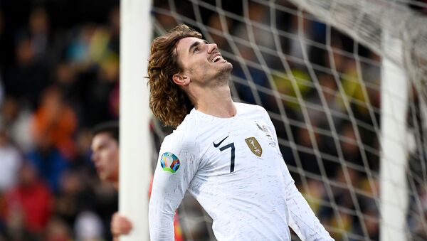 France's forward Antoine Griezmann reacts during the UEFA Euro 2020 qualification football match between Andorra and France at the National stadium in Andorra La Vella, on June 11, 2019 - Sputnik International