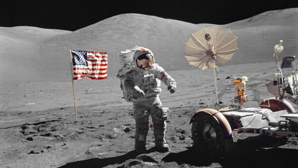 This December 13, 1972 image courtesy of NASA shows Astronaut Eugene A. Cernan, mission commander, walking toward the Lunar Roving Vehicle (LRV) during extravehicular activity (EVA) at the Taurus-Littrow landing site of NASA's sixth and final Apollo lunar landing mission - Sputnik International