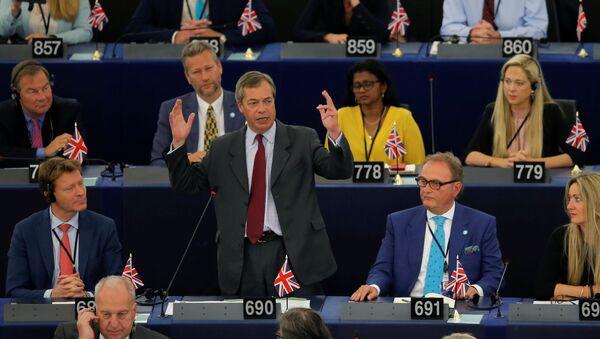 Brexit Party leader Nigel Farage speaks during a debate on the election of designated European Commission President Ursula von der Leyen at the European Parliament in Strasbourg, France, July 16, 2019 - Sputnik International