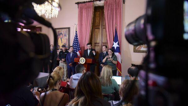 Puerto Rico Gov. Ricardo Rossello speaks during a press conference in La Fortaleza's Tea Room, in San Juan, Puerto Rico - Sputnik International