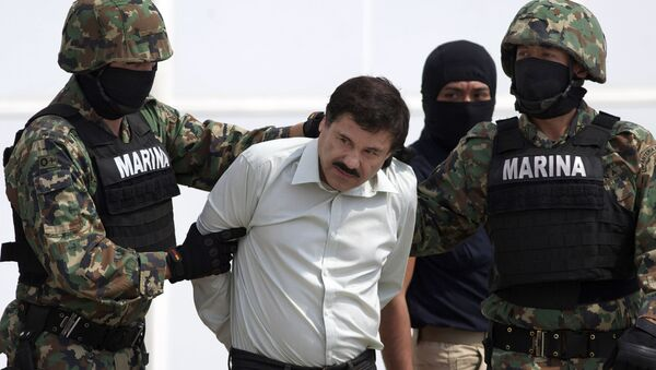In this 22 February 2014 file photo, Joaquin El Chapo Guzman, centre, is escorted to a helicopter in handcuffs by Mexican navy marines at a hanger in Mexico City, after he was captured overnight at the beach resort town of Mazatlan. - Sputnik International