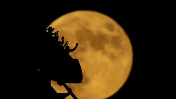 Silhouettes of roller coaster riders at the Worlds of Fun amusement park in Kansas City on the 50th anniversary of the Apollo 11 moon launch,  July 16, 2019,  - Sputnik International
