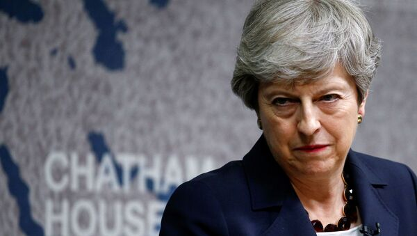 Britain's Prime Minister Theresa May speaks at Chatham House in London on July 17, 2019 - Sputnik International