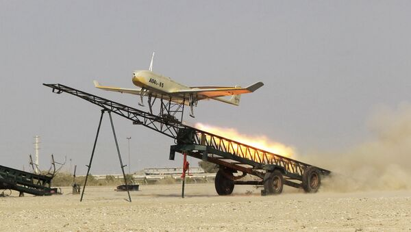 FILE - In this file picture released by Jamejam Online on 25 December 2014, an Iranian-made drone is launched during a military drill at the port of Jask in southern Iran - Sputnik International