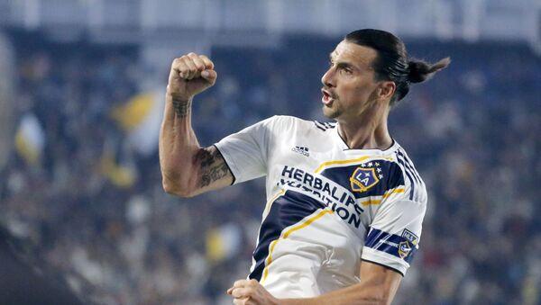 LA Galaxy forward Zlatan Ibrahimovic celebrates his goal during the second half of an MLS soccer match against Toronto FC in Carson, Calif., Thursday, July 4, 2019. The Galaxy won 2-0. - Sputnik International