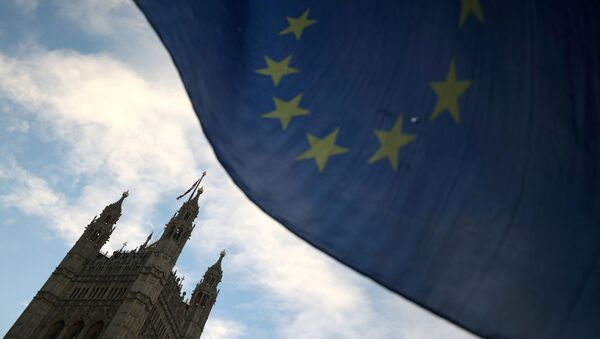 An EU flag flutters during an anti-Brexit demonstration outside the Houses of Parliament in London, Britain, January 28, 2019 - Sputnik International