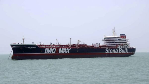 A British-flagged oil tanker Stena Impero which was seized by the Iran's Revolutionary Guard on Friday is photographed in the Iranian port of Bandar Abbas, Saturday, July 20, 2019. - Sputnik International
