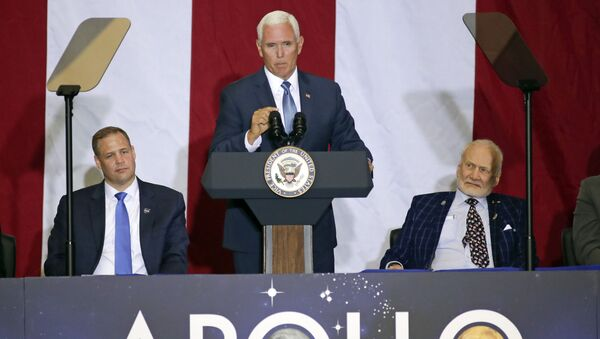 Vice President Mike Pence, center, makes remarks as NASA administrator Jim Bridenstine, back left, and Apollo 11 astronaut Buzz Aldrin listen during a visit to the Kennedy Space Center in recognition of the Apollo 11 anniversary - Sputnik International