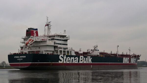 This handout photo received on July 19, 2019 courtesy of Nico Kemps shows the Stena Impero, a British-flagged tanker, off the coast of Amsterdam on December 26, 2018. - Sputnik International