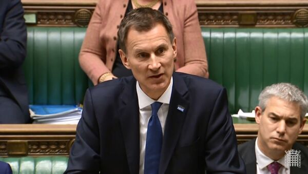 A video grab from footage broadcast by the UK Parliament's Parliamentary Recording Unit (PRU) shows Britain's Health and Social Care Secretary Jeremy Hunt speaking during the Opposition Day Debate: NHS Winter Crisis session in the House of Commons in central London on 10 January 2018 - Sputnik International