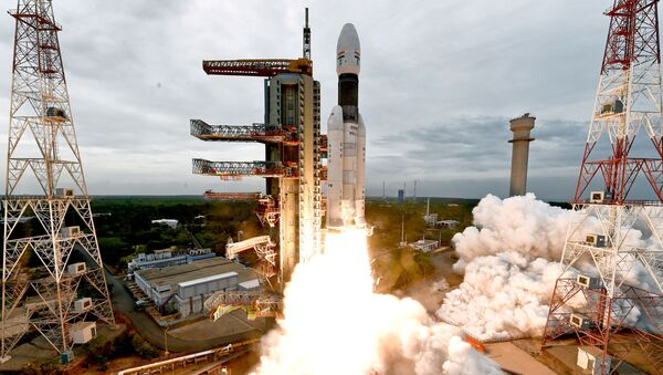 India's Geosynchronous Satellite Launch Vehicle Mk III-M1 blasts off carrying Chandrayaan-2 from the Satish Dhawan space centre at Sriharikota, India, July 22, 2019 - Sputnik International