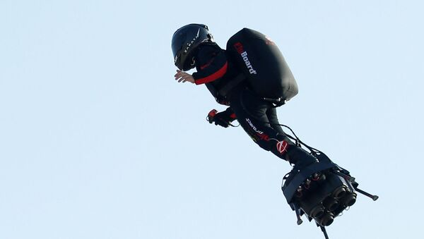 French inventor Franky Zapata takes off on a Flyboard to cross the English channel from Sangatte to Dover, in Sangatte, France, July 25, 2019 - Sputnik International
