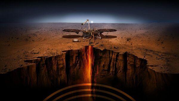 An artist illustration of the InSight lander on Mars - Sputnik International