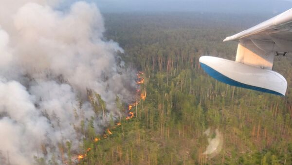 This handout picture taken on July 30, 2019 from onboard a Be-200 firefighting aircraft and provided by the press-service of Russia's Krasnoyarsk Krai's forestry ministry shows a forest fire in the Boguchansky district - Sputnik International