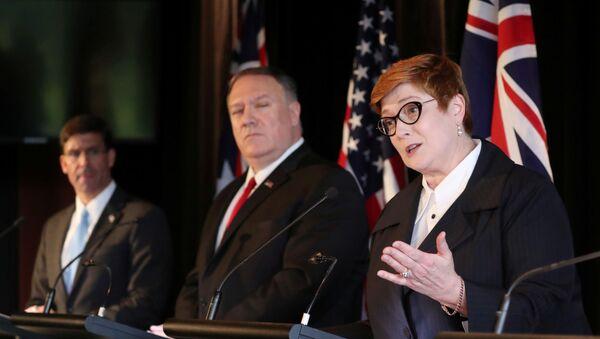 Australia's Foreign Minister Marise Payne speaks during a joint news conference with U.S. Secretary of Defence Mark Esper, U.S. Secretary of State Mike Pompeo and Australia's Defence Minister Linda Reynolds (unseen) in Sydney, Australia, August 4, 2019.  - Sputnik International