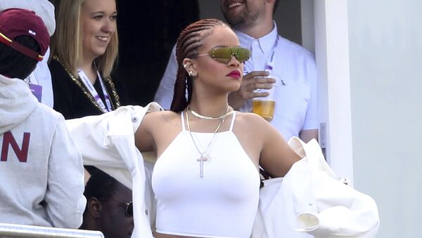 Singer Rihanna watches the action from the stands during the Cricket World Cup match between Sri Lanka and the West Indies at the Riverside Ground in Chester-le-Street, England, Monday, July 1, 2019 - Sputnik International