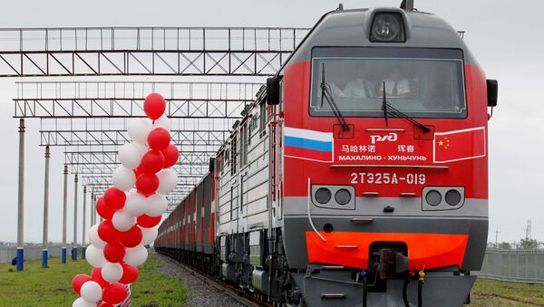 Ceremony celebrating the opening of a new border crossing between China and Russia. File photo. - Sputnik International