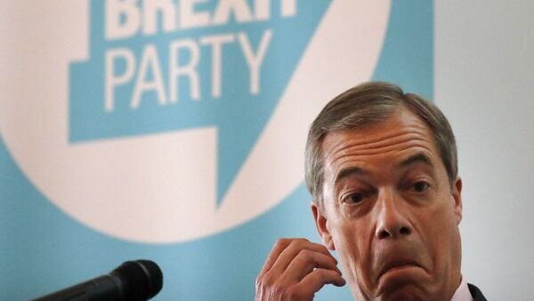 Brexit Party chairman Nigel Farage addresses the media during a news conference focussing on postal votes in London, Monday, June 24, 2019.  Farage called for an end to the election postal votes system under its current form. (AP Photo/Frank Augstein) - Sputnik International