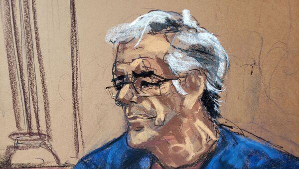 US financier Jeffrey Epstein looks on during a bail hearing in his sex trafficking case, in this court sketch in New York, U.S., July 18, 2019. - Sputnik International