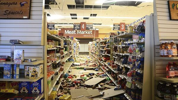 This July 7, 2019 photo provided by the U.S. Navy shows damage to a store at the Naval Air Weapons Station China Lake military base following series of earthquakes on July 4 and 5. The base sustained heavy damage that experts estimate will cost over $5 billion to repair. - Sputnik International