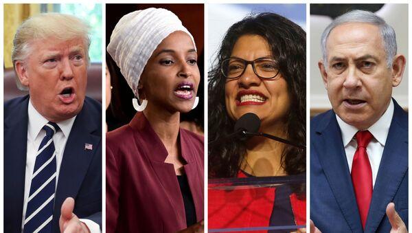 U.S. President Donald Trump, U.S. Congresswomen Ilhan Omar, Rashida Tlaib, and Prime Minister Benjamin Netanyahu are seen in a combination from file photos.   - Sputnik International