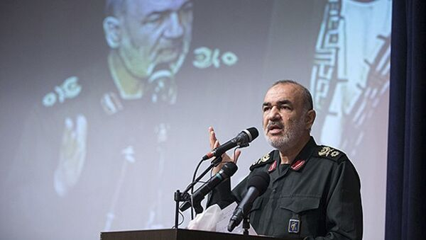 In this undated photo released by Sepahnews, the website of the Iranian Revolutionary Guard, Gen. Hossein Salami speaks in a meeting in Tehran, Iran - Sputnik International