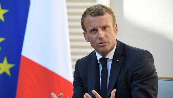 French President Emmanuel Macron at a meeting with Russian President Vladimir Putin at the residence of French President Fort Bregancon.  - Sputnik International