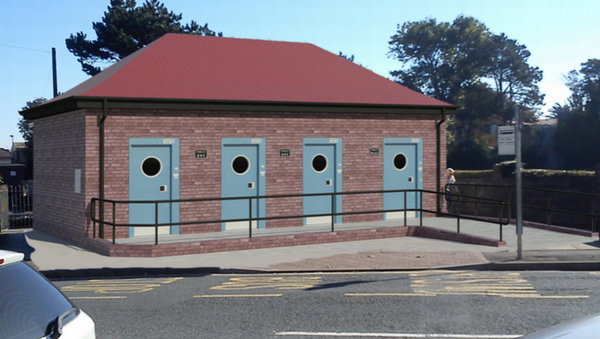 Model of the new restrooms proposed for Porthcawl, Wales (outside view). - Sputnik International
