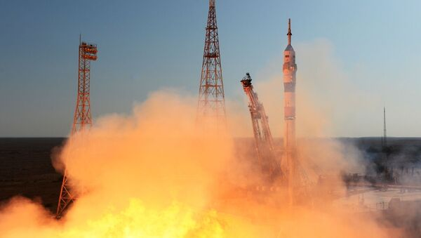 A Soyuz-2.1a carrier rocket is launched into space with the piloted Soyuz MS-14 vehicle from the Baikonur Cosmodrome. - Sputnik International
