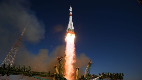 Soyuz-2.1a carrier rocket is being launched into space with the piloted Soyuz MS-14 vehicle from the Baikonur Cosmodrome. - Sputnik International