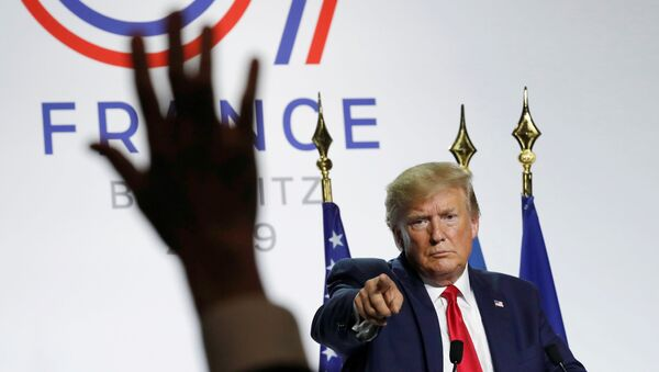 U.S. President Donald Trump gestures during his news conference at the end of the G7 summit in Biarritz, France - Sputnik International