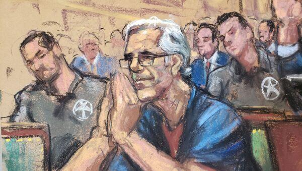 Jeffrey Epstein looks on during a a bail hearing in U.S. financier Jeffrey Epstein's sex trafficking case, in this court sketch in New York, U.S., July 15, 2019 - Sputnik International